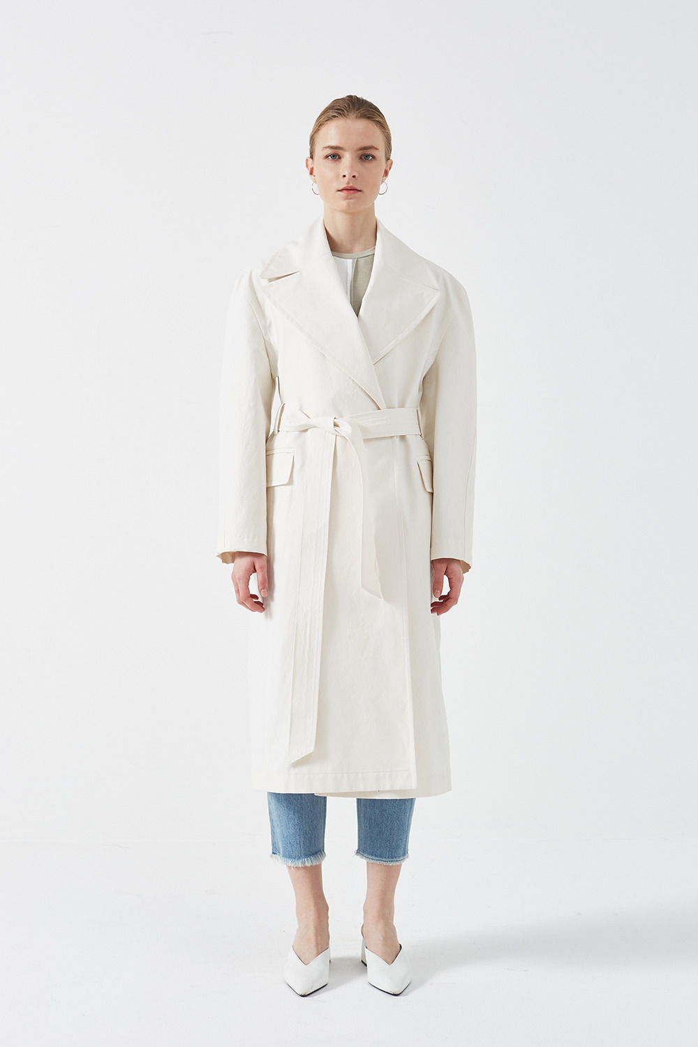 Silhouette Trench Coat Ivory