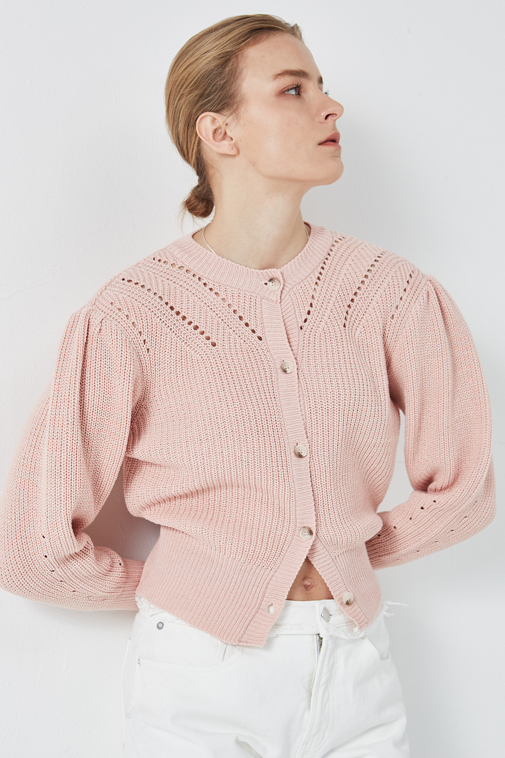 Puff Shoulder Cardigan Pale Pink