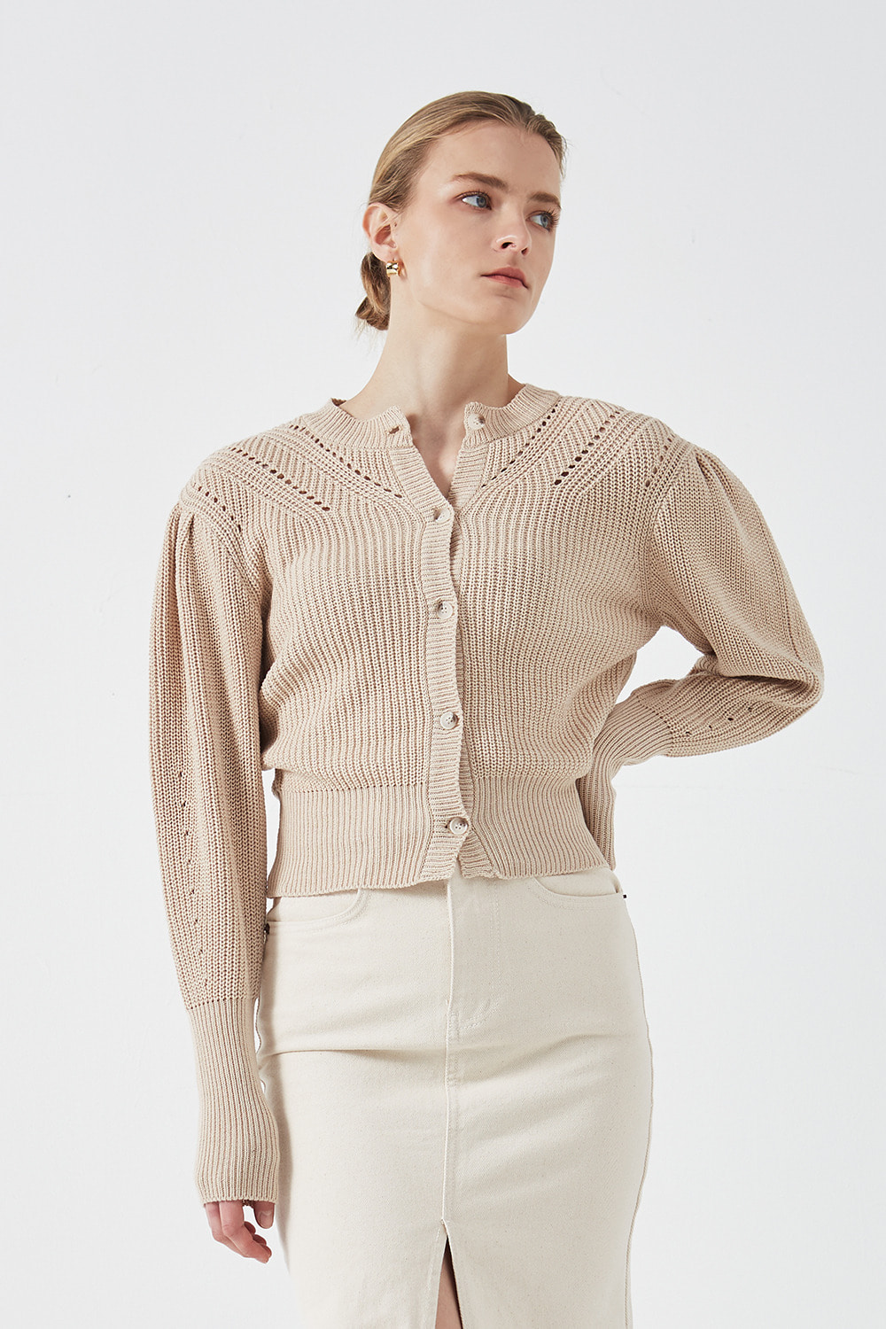 Puff Shoulder Cardigan Beige