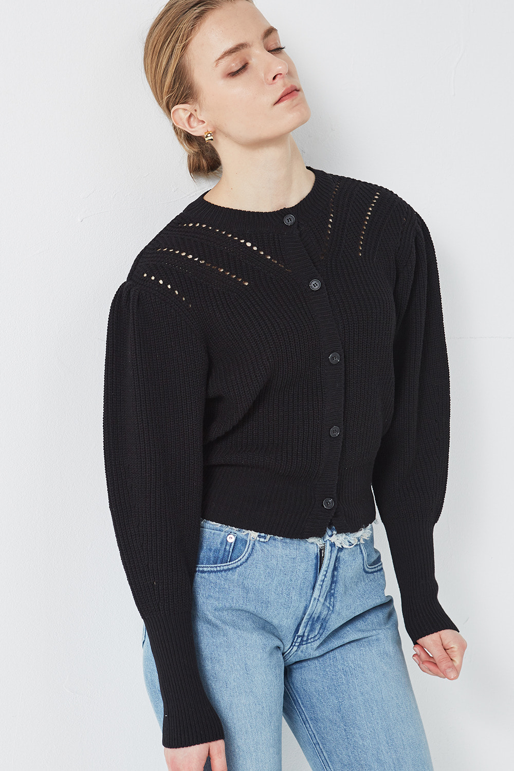 Puff Shoulder Cardigan Black