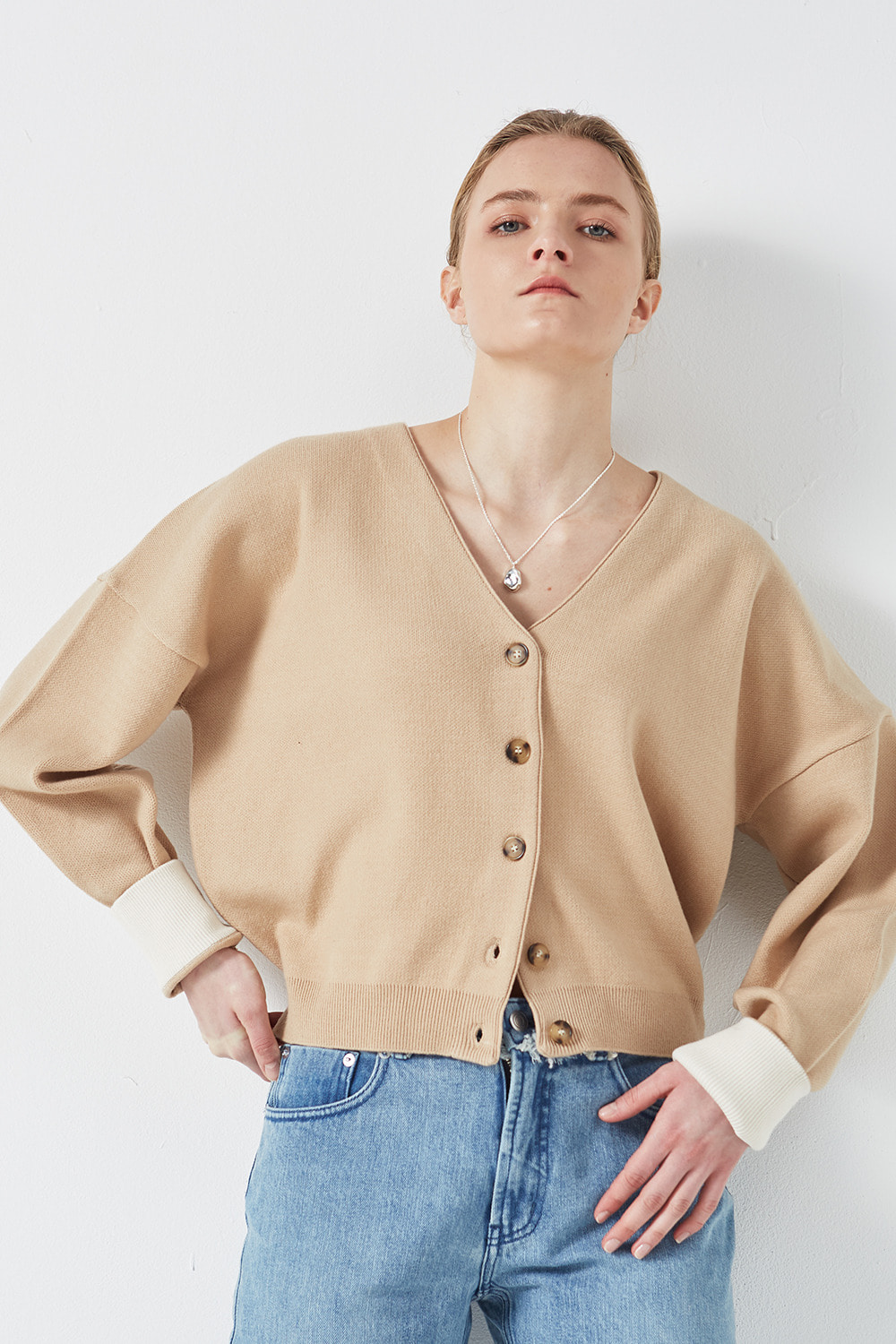 Drop Shoulder Cardigan Beige