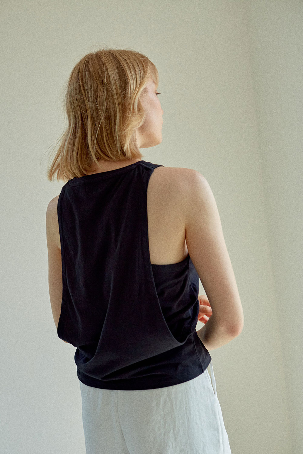 Layered Sleeveless T-shirt Black