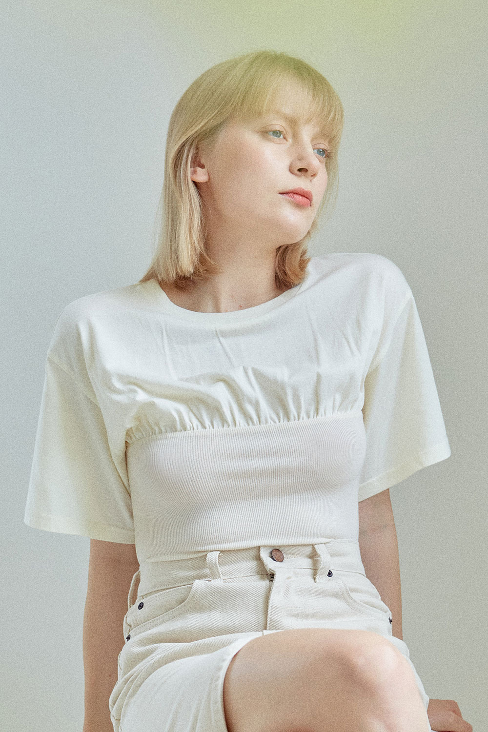 Layered Shirring T-shirt Cream & Cream