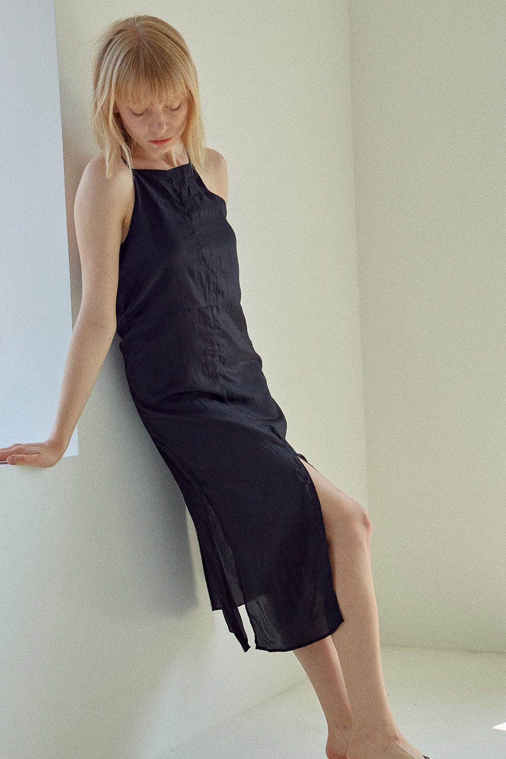 Shining Slip Dress Black