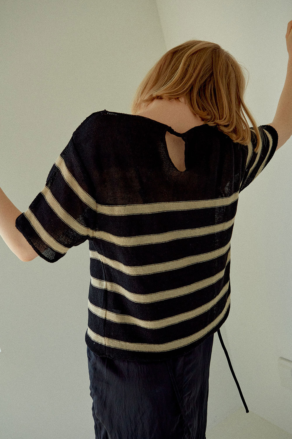 Linen Stripe Knit Black