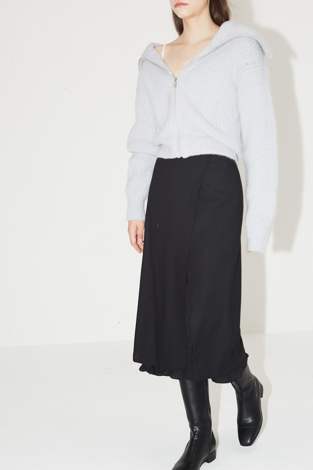 Crinkle Point Wool Skirt Black